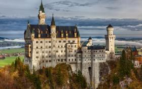 Обои скала, Германия, Бавария, Germany, Bavaria, Neuschwanstein Castle, Замок Нойшванштайн