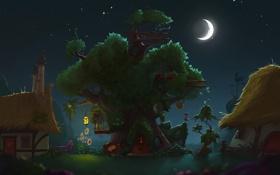 Обои звезды, ночь, дома, месяц, дуб, golden oaks library