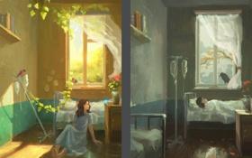 Картинка девушка, цветы, фантазия, птица, арт, ворон, снегирь