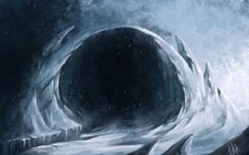 Обои метель, скалы, пещера, арт, снег, холод