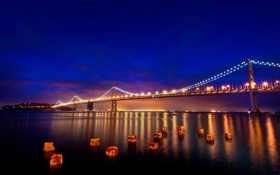 Обои мост, огни, Калифорния, Сан-Франциско, California, San Francisco