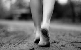 Обои песок, пляж, девушка, следы, фон, черно-белый, настроения