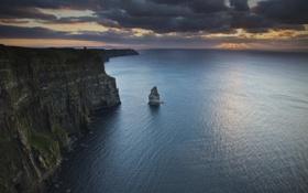 Картинка закат, скалы, Cliffs of Moher, водная гладь, Atlantic Ocean, побережье, Атлантический океан