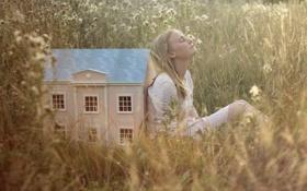 Картинка девушка, дом, настроение