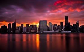 Обои Sunset, Manhattan, New York City