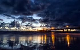 Картинка sea, clouds, sunrise, reflections, Gold Coast