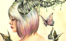 Картинка девушка, цветы, бабочка, рога, art