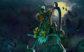 Картинка существо, коса, серп, fiddlesticks, пугало, ночь, птицы