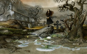 Обои кладбище, слез, девушка, getoart, Lake of Tears, озеро, могилы