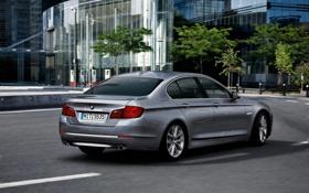 Обои Город, BMW, Серый, БМВ, Серебро, Седан, 5 Series