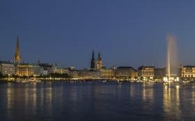 Картинка фонтан, ратуша, вечер, озеро, Гамбург, Германия, дома
