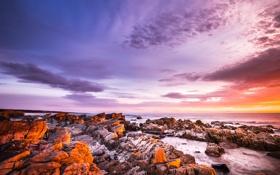 Обои пейзаж, побережье, рассвет, океан