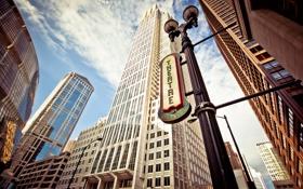 Картинка buildings, зданий, Chicago downtown, theatre district.city, театр district.city, Чикаго в центре города
