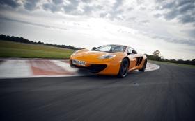 Обои небо, оранжевый, McLaren, суперкар, MP4-12C, передок, макларен