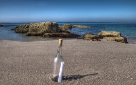 Картинка письмо, бутылка, France, Brittany, Le Courégant