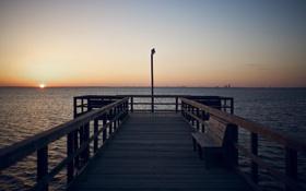 Обои море, солнце, закат, скамейка, настроение, обои, горизонт