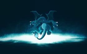 Картинка вода, синий, дракончик, pokemon