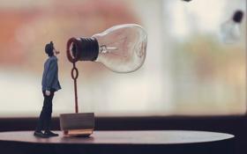 Картинка лампочка, парень, мыльный пузырь