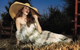Картинка трава, ночь, веточка, шляпа, платье, актриса, Nicole Kidman