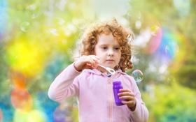 Картинка мыльные пузыри, девочка, кудряшки, ребёнок, боке