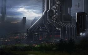 Картинка город, будущее, провода, арт, сооружения, башни, Gia Nguyen Hoang
