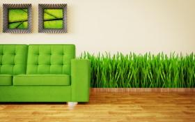 Обои зеленый, диван, минимализм