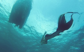 Обои море, девушка, русалка, дыхание, костюм, хвост, экстрим