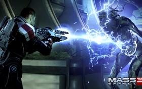 """Обои Шепард, Mass Effect 3, Shepard, Жнец, Банши, дробовик """"Ригар"""""""