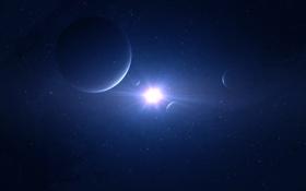 Обои свет, звезда, планеты, спутники, бесконечность