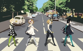 Обои k-on, beatles, abbey road