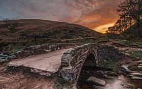 Картинка закат, пейзаж, река, мост