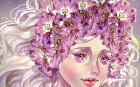 Обои глаза, взгляд, девушка, цветы, лицо, волосы, арт