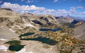Обои США, Калифорния, небо, Сьерра-Невада, горы, Kings Canyon National Park, озера