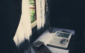 Картинка стол, окно, очки, книга, чернила
