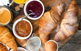 Обои яйцо, кофе, завтрак, выпечка, джем, круассаны