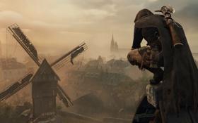 Обои город, мельница, assasin, Assassin's Creed Unity