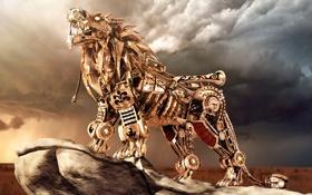 Обои робот, лев, небо, механизм