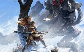 Картинка небо, девушка, снег, дерево, робот, лук, рыжая