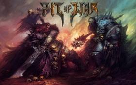 Обои воины, pit of war, щит, шкура, меч, битва, накидка
