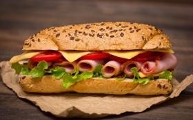 Обои еда, сыр, бутерброд, помидоры, сэндвич, булка, булочка