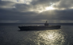 Картинка ночь, оружие, корабль, Aircraft carrier USS Carl Vinson (CVN 70)
