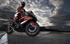 Обои дорога, небо, облака, закат, трасса, мотоцикл, мотоциклист