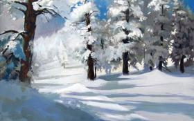 Обои зима, лес, снег, деревья, арт, сугробы