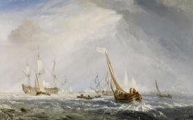 Картинка парус, морской пейзаж, Уильям Тёрнер, Antwerp - Van Goyen Looking Out for a Subject, море, ...