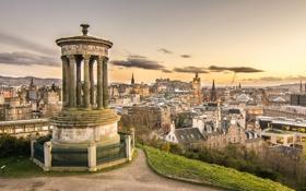 Картинка Шотландия, панорама, Scotland, Эдинбург, Edinburgh, Dugald Stewart Monument, Calton Hill
