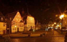 Картинка ночь, огни, улица, дома, Германия, фонари, Kirchberg