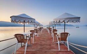 Картинка море, пирс, зонты, курорт, Турция, столики