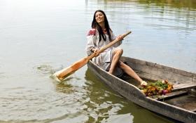 Картинка девушка, цветы, река, настроение, лодка
