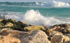 Картинка море, волны, небо, брызги, шторм, камни
