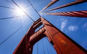 Картинка небо, солнце, мост, канат, опора